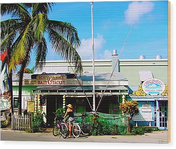 Bait And Tackle Key West Wood Print by Iconic Images Art Gallery David Pucciarelli