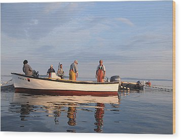 Wood Print featuring the photograph Bait Fishers by Paul Miller