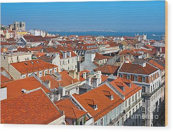 Baixa City Center Of Lisbon Panoramic View Wood Print by Kiril Stanchev