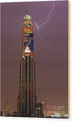 Baiyoke Sky Hotel  -  Strike One. Wood Print by Pete Reynolds