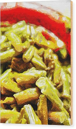 Baked Beans With Chilli Painting Wood Print by Magomed Magomedagaev