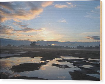 Bakersfield Sunrise Wood Print by Meghan at FireBonnet Art