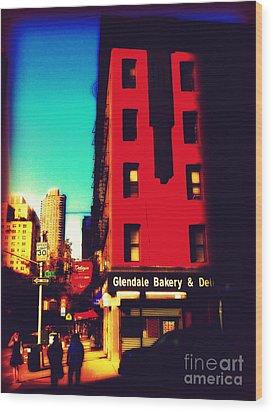 The Bakery - New York City Street Scene Wood Print by Miriam Danar