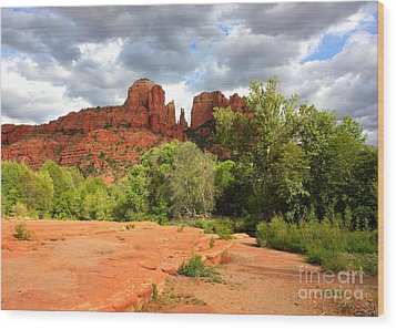 Balance At Cathedral Rock Wood Print by Carol Groenen