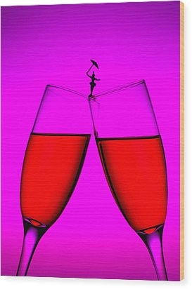 Balance On Red Wine Cups Little People On Food Wood Print by Paul Ge