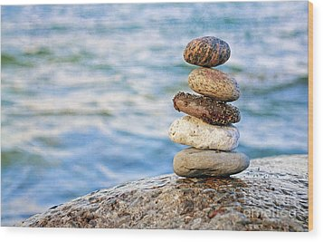 Balanced Pebbles Wood Print by Charline Xia