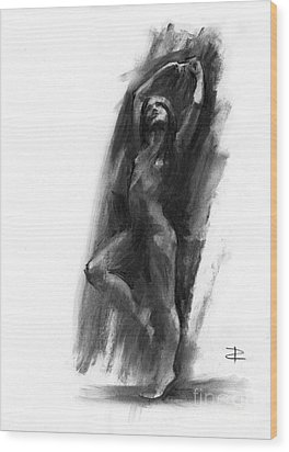 Wood Print featuring the drawing A Dance Of Balance by Paul Davenport