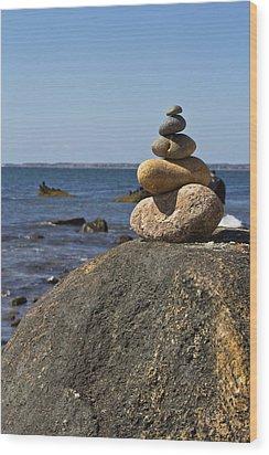 Balancing Rock 2 Wood Print by Rosie McCobb