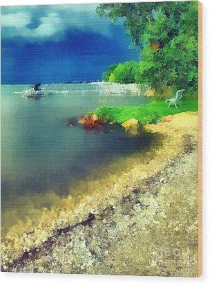Balaton Lake Shore Wood Print by Odon Czintos