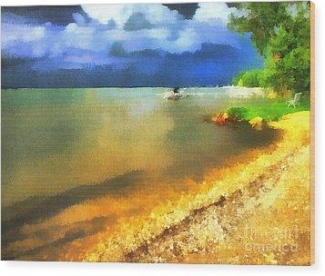 Balaton Shore Wood Print by Odon Czintos