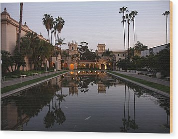 Wood Print featuring the photograph Balboa Park Reflection Pool by Nathan Rupert