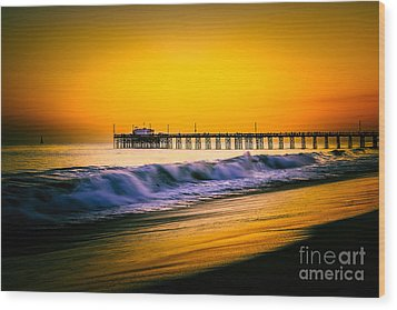 Balboa Pier Picture At Sunset In Orange County California Wood Print by Paul Velgos