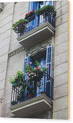 Balconies In Bloom Wood Print by Menachem Ganon