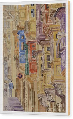 balconies Valletta Wood Print