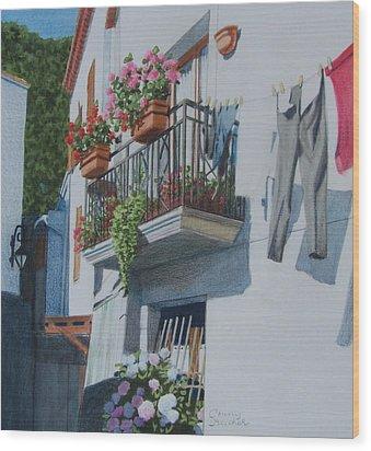 Balcony In Maratea Wood Print
