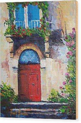 Balcony Wood Print by Janet Garcia
