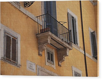 Wood Print featuring the photograph Balcony Piazza Della Madallena In Roma by Dany Lison