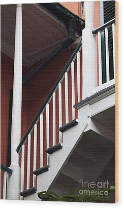 Balcony Stairs Wood Print by John Rizzuto