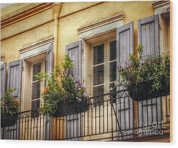 French Quarter Balcony Wood Print by Valerie Reeves