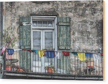 Balcony View Wood Print by Brenda Bryant