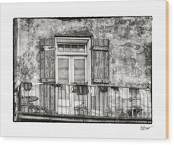 Balcony View In Black And White Wood Print by Brenda Bryant