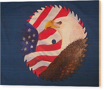 Bald Eagle And American Flag Wood Print