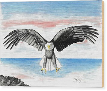 Wood Print featuring the drawing Bald Eagle by David Jackson