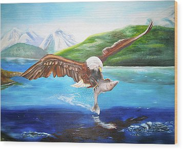 Wood Print featuring the painting Bald Eagle Having Dinner by Thomas J Herring
