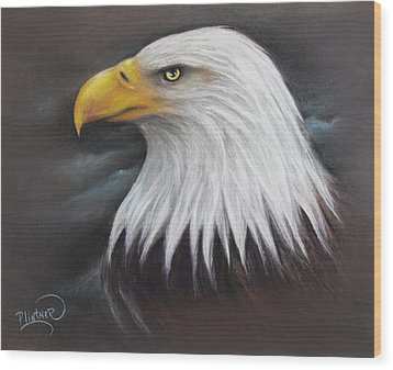 Wood Print featuring the drawing Bald Eagle by Patricia Lintner