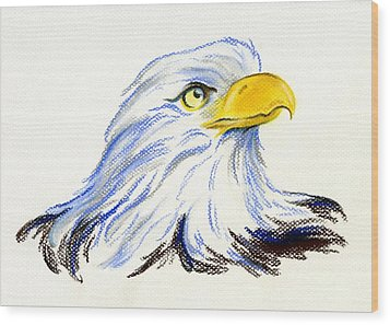 Wood Print featuring the pastel Bald Eagle Portrait by MM Anderson