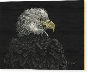 Wood Print featuring the drawing American Bald Eagle by Sandra LaFaut
