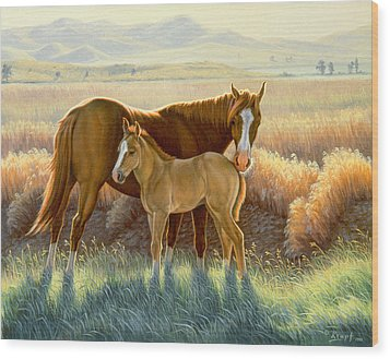 Bald-faced Sorrel And Colt Wood Print by Paul Krapf
