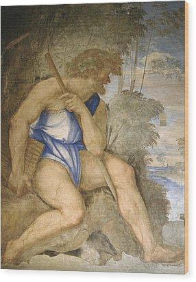 Baldassare Peruzzi 1481-1536. Italian Architect And Painter. Villa Farnesina. Polyphemus. Rome Wood Print by Baldassarre Peruzzi