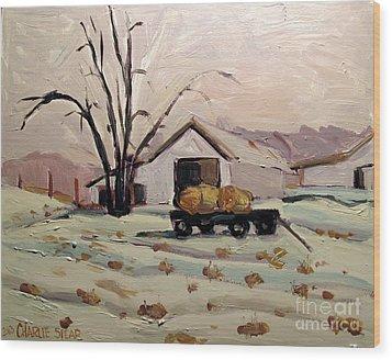 Bale Wagon  Wood Print by Charlie Spear
