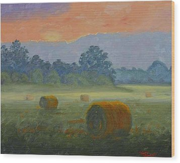 Bales At Dawn Wood Print by Tommy Thompson