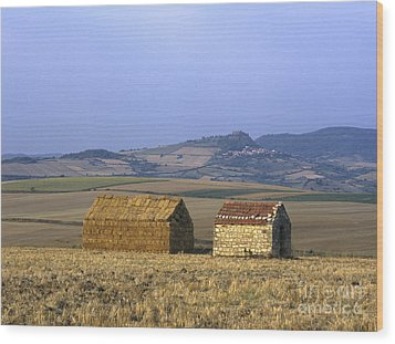 Bales Of Straw Stacked In The Shape Of A House Next To A Little Stone House. Limagne. Auvergne. Fran Wood Print by Bernard Jaubert