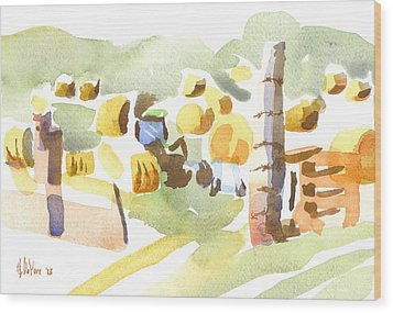 Baling Hay In The Abstract Wood Print by Kip DeVore