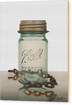 Wood Print featuring the painting Ball And Chain by Ferrel Cordle