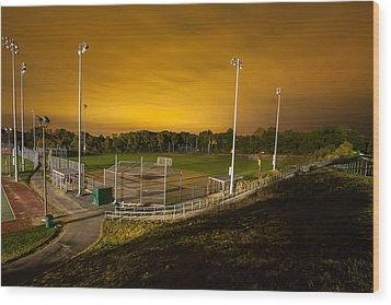 Ball Field At Night Wood Print by Brian MacLean