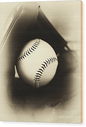 Ball In Glove Wood Print by John Rizzuto