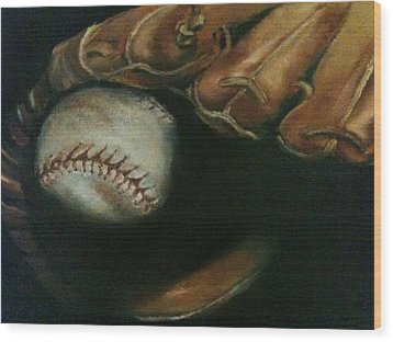 Ball In Glove Wood Print