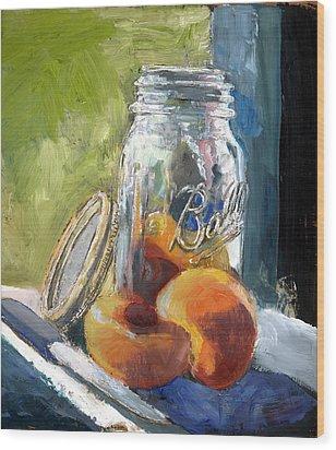 Ball Jar And Peaches Wood Print