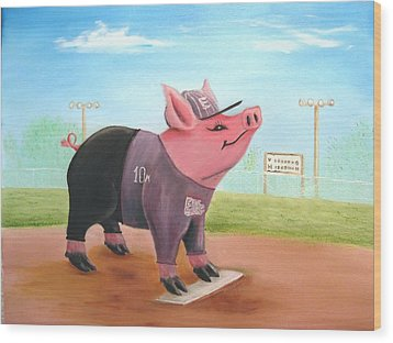 Ball Pig With Attitude Wood Print by Bobby Perkins