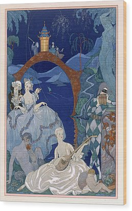 Ball Under The Blue Moon Wood Print by Georges Barbier