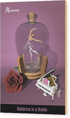 Ballerina In A Bottle - Heaven Wood Print by Andre Price
