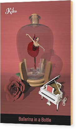 Ballerina In A Bottle - Kiko Wood Print by Andre Price