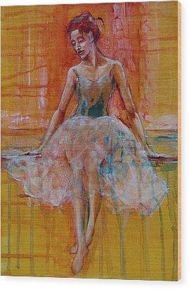 Ballerina In Repose Wood Print by Jani Freimann
