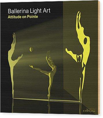 Ballerina Light Art - Yellow Wood Print by Andre Price