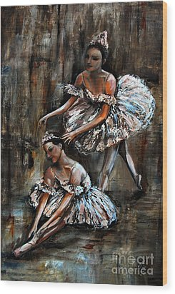 Ballerina Wood Print by Nancy Bradley