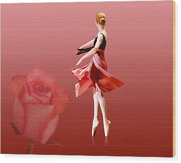 Ballerina On Pointe With Red Rose  Wood Print by Delores Knowles